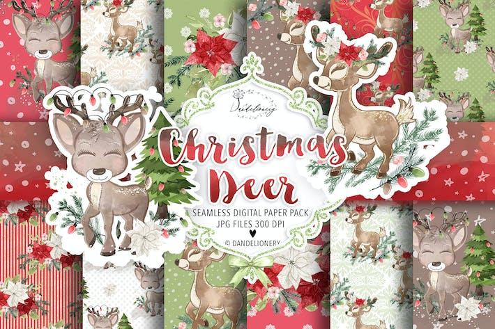 Thumbnail for Cute Deer Winter digital paper pack