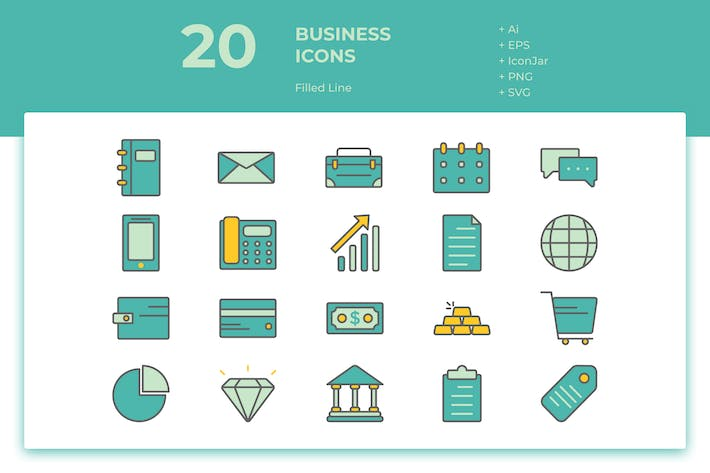 Thumbnail for 20 Business Icons (Filled Line)