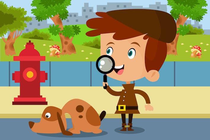 Thumbnail for Little Detective - Vector Kids Illustration