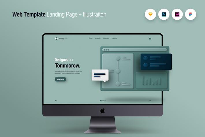 Thumbnail for Web Template Landing Page + Illustraiton 1