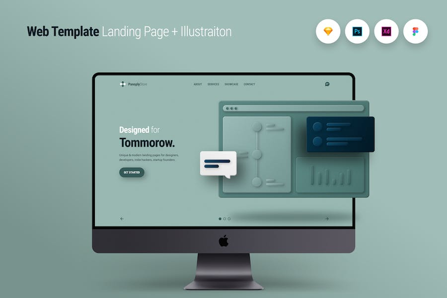 Web Template Landing Page + Illustraiton 1