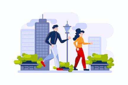 Dos personas están corriendo al aire libre.