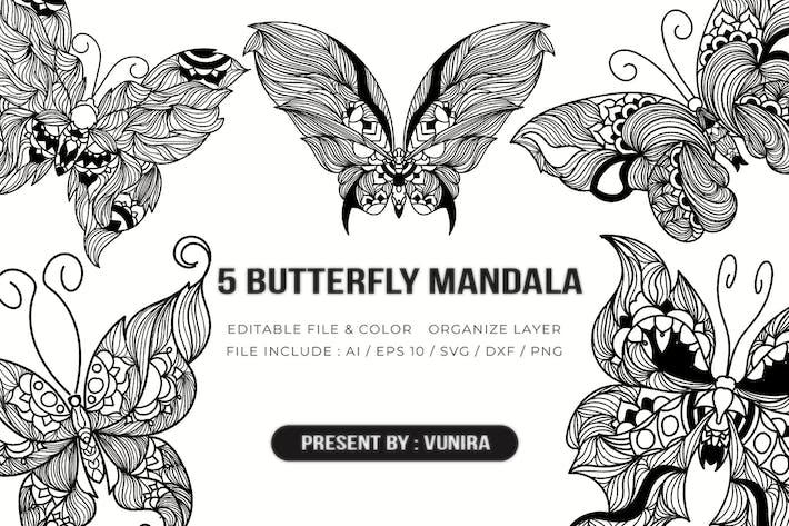 Thumbnail for 5 Schmetterling Mandala | Design Illustration