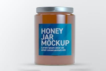 Honey Glass Jar Mockup