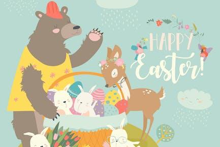 Oso lindo, conejos Alegre y Pequeño ciervos celebratin