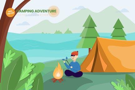Camping Adventure Flat Vector Illustration