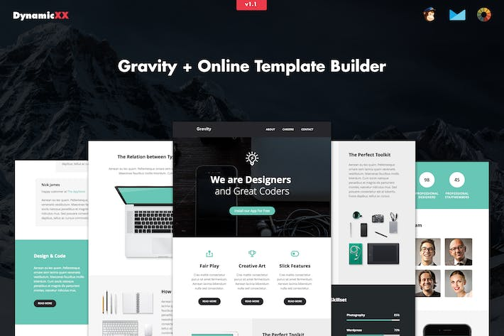 Thumbnail for Gravity - Responsive Creative Email + Builder