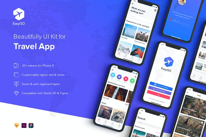 Thumbnail for EasyGo - Travel App UI Kit for SKETCH