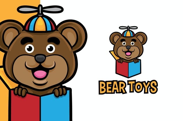 Bear Toys Logo Mascot Template