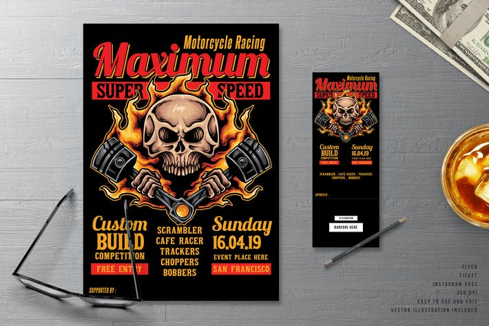 Thumbnail for Fire Piston Biker & Motorcycle Flyer