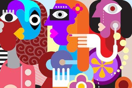 Три женщины современного изобразительного искусства портрет, вектор изображение