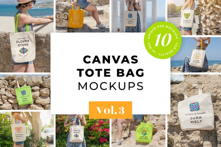 Thumbnail for Canvas Tote Bag Mockups Pack Vol. 3