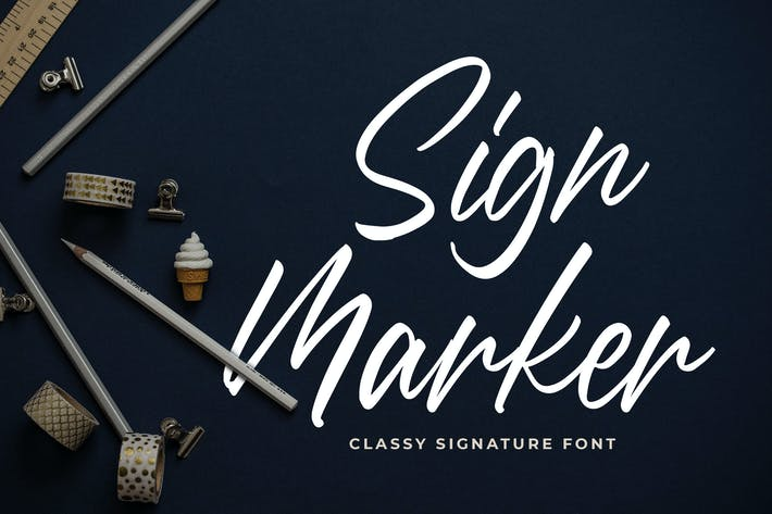Thumbnail for Sign Marker - Classy Signature Font