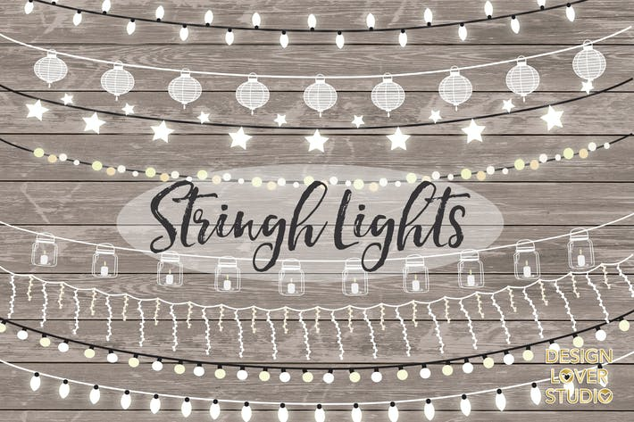 Thumbnail for Vector lights clipart, String Lights Clipart