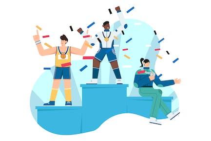 Leaderboard Champion Flat Illustration