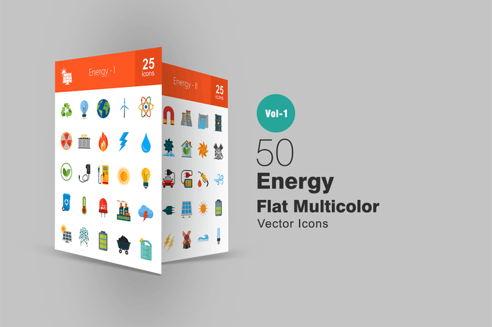 Thumbnail for 50 Energy Flat Multicolor Icons