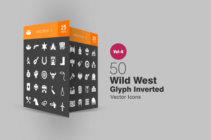 Thumbnail for 50 Wild West Glyph Inverted Icons