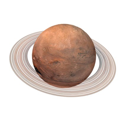 Fictional Orange Planet with Ring