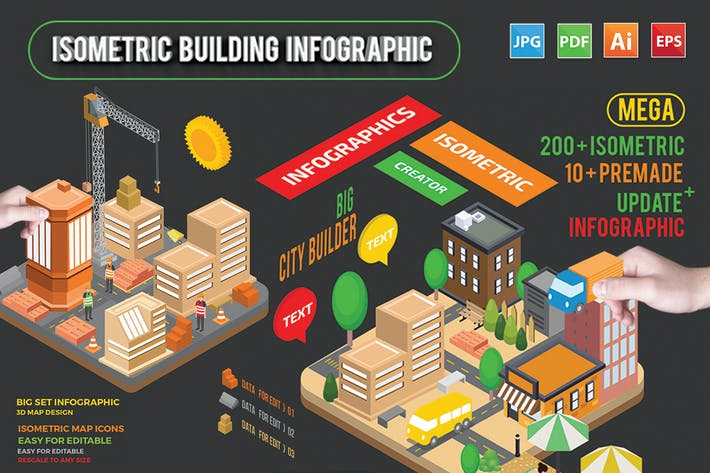 Thumbnail for Isometric Building Infographic Template