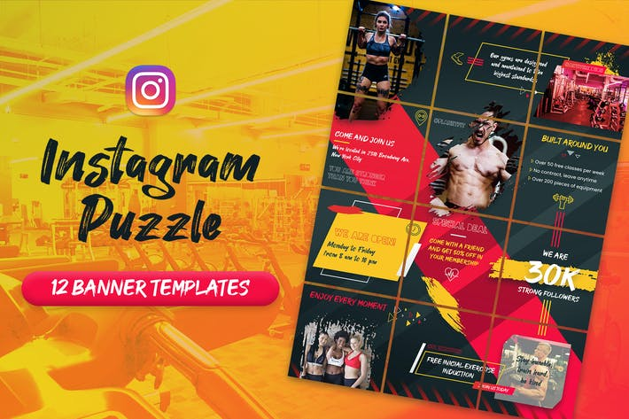 Thumbnail for Fitness and Gym - Instagram Puzzle Banners