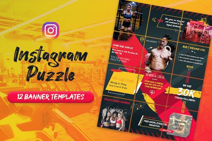 Thumbnail for Фитнес и тренажерный зал - Instagram Пазлы Баннеры