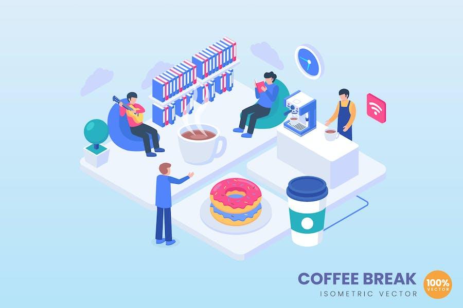 Иллюстрация концепции кофе-б