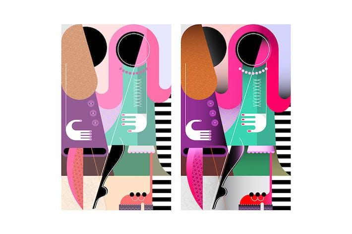 Thumbnail for Deux œuvres d'art vecteur de femmes à la mode