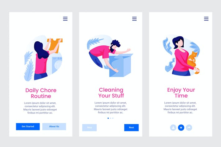 Thumbnail for Daily Schedule Apps Onboarding Screen PSD and AI