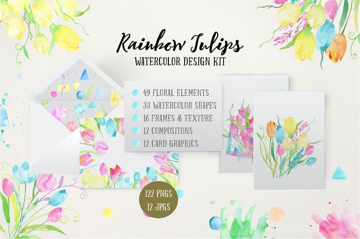 Thumbnail for Watercolor Design Kit Rainbow Tulips
