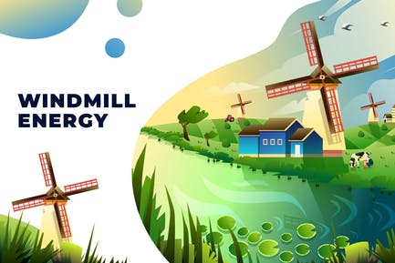 Windmühlen-Energie - Vektor-Illustration