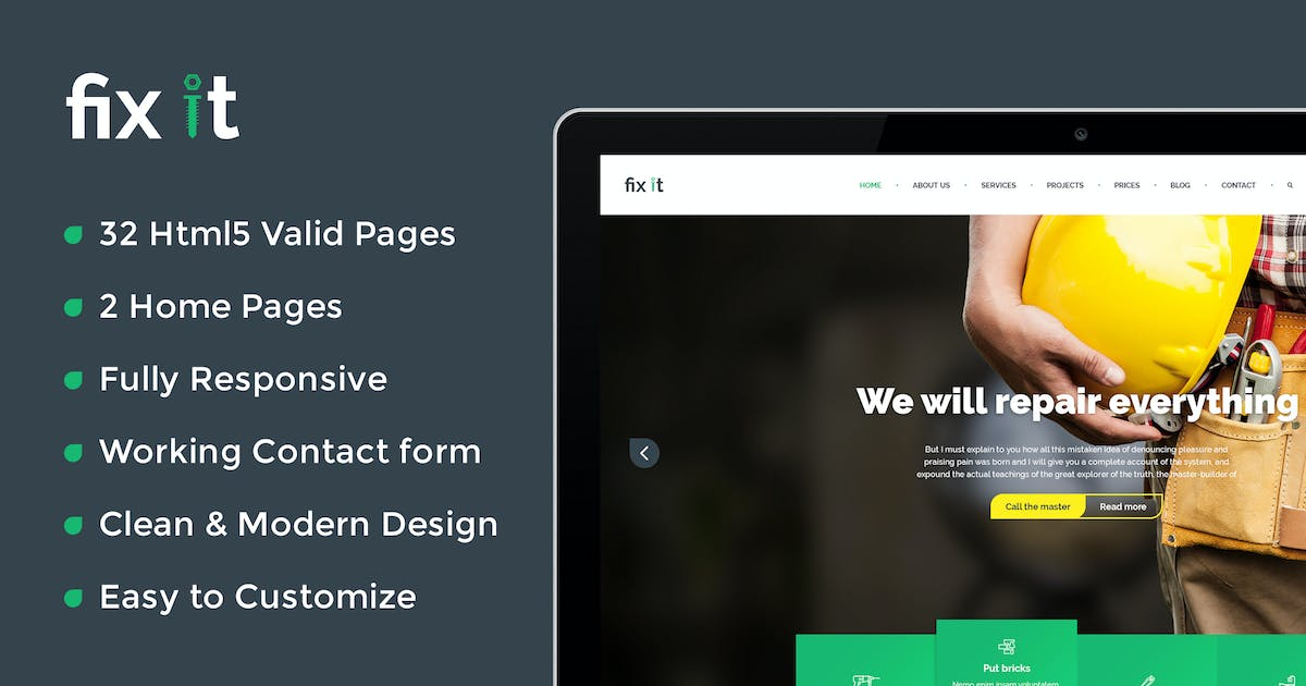 Download Fixit Construction - Construction HTML Template by kamleshyadav