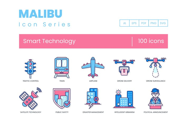 Thumbnail for 100 Smart Technology Icons - Malibu Series