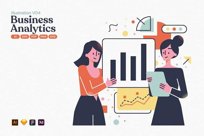 Thumbnail for Business Data Analytics Flat Illustration