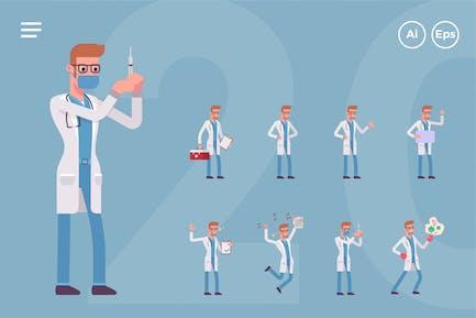 Jeu de personnages de médecin masculin (20 poses)