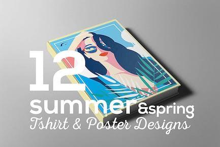 Sommer & Frühling Poster T-Shirt Set