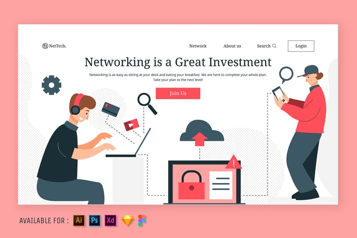 Thumbnail for Networking - Web Illustration