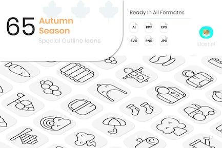 Autumn Season Outline Icons