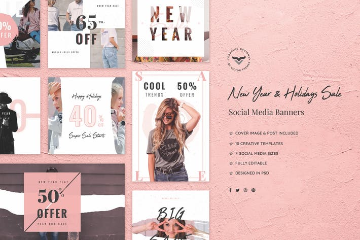 Thumbnail for New Year and Holidays Sales Social Media Pack