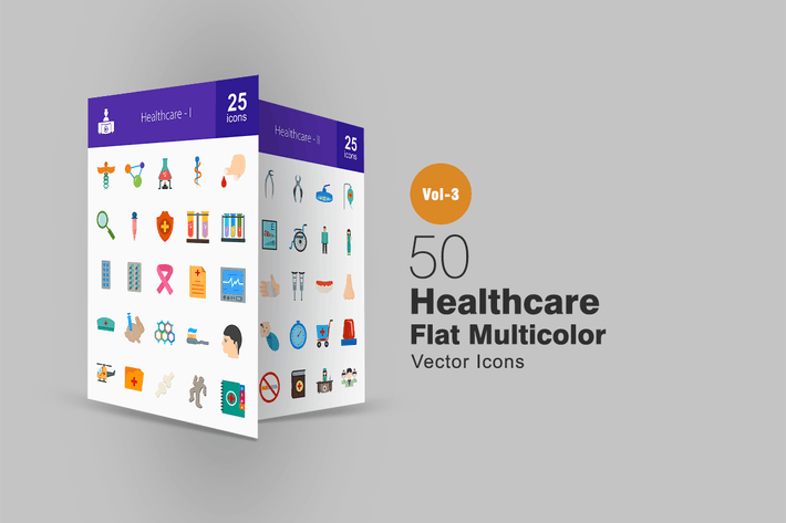 Cover Image For 50 Healthcare Flat Multicolor Icons