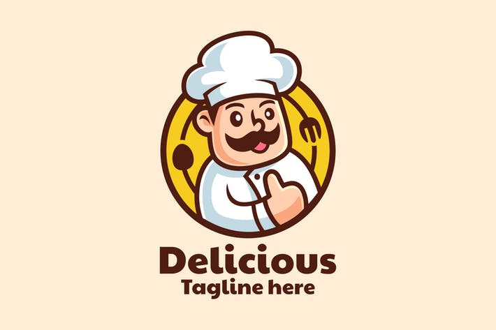 Cartoon Character Chef Logo Design