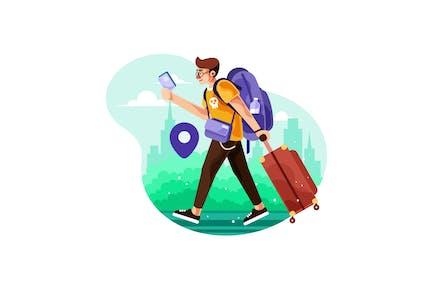 Hombre viajero caminando en la ciudad llevar una maleta