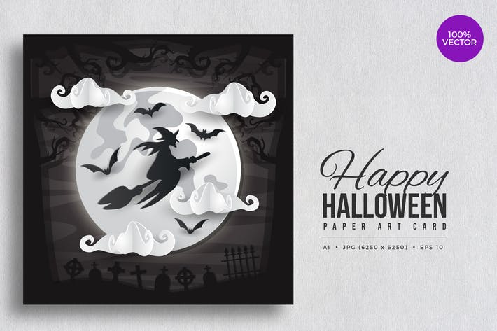 Thumbnail for Happy Halloween Paper Art Vector Card Vol.2