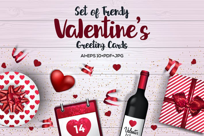 Thumbnail for Trendy Valentines Day greeting Cards Design