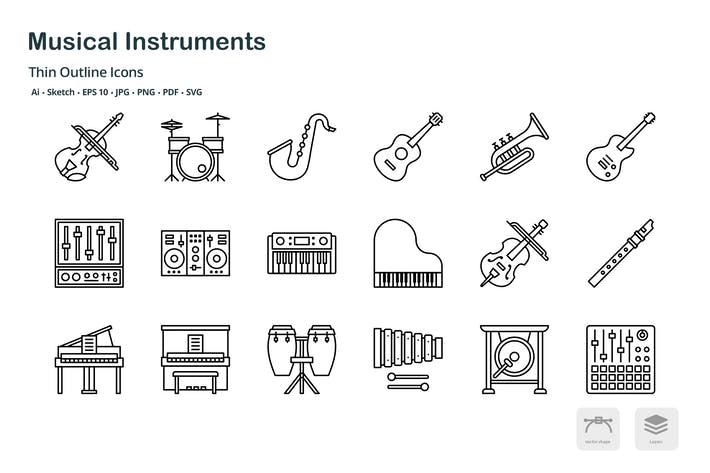 Thumbnail for Music and instruments thin outline icons