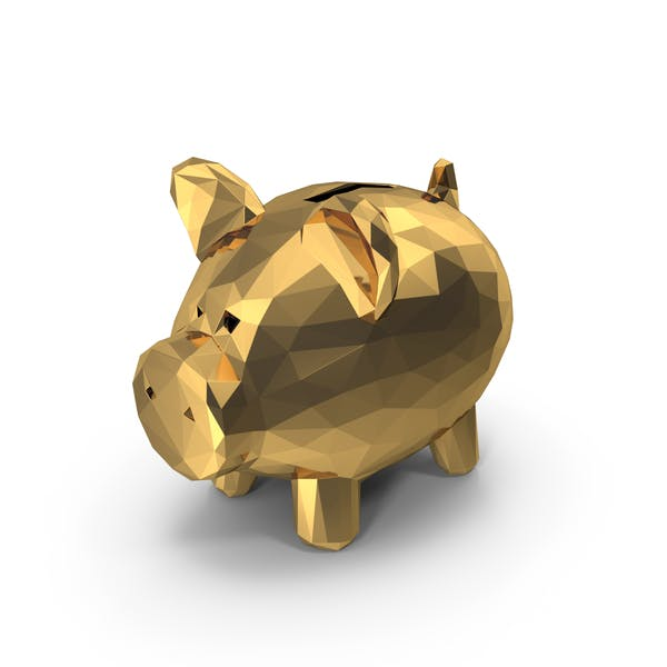 Low Poly Gold Piggy Bank