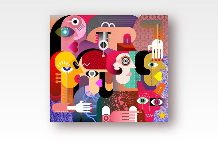 Thumbnail for Six Women And A Dog modern art vector illustration