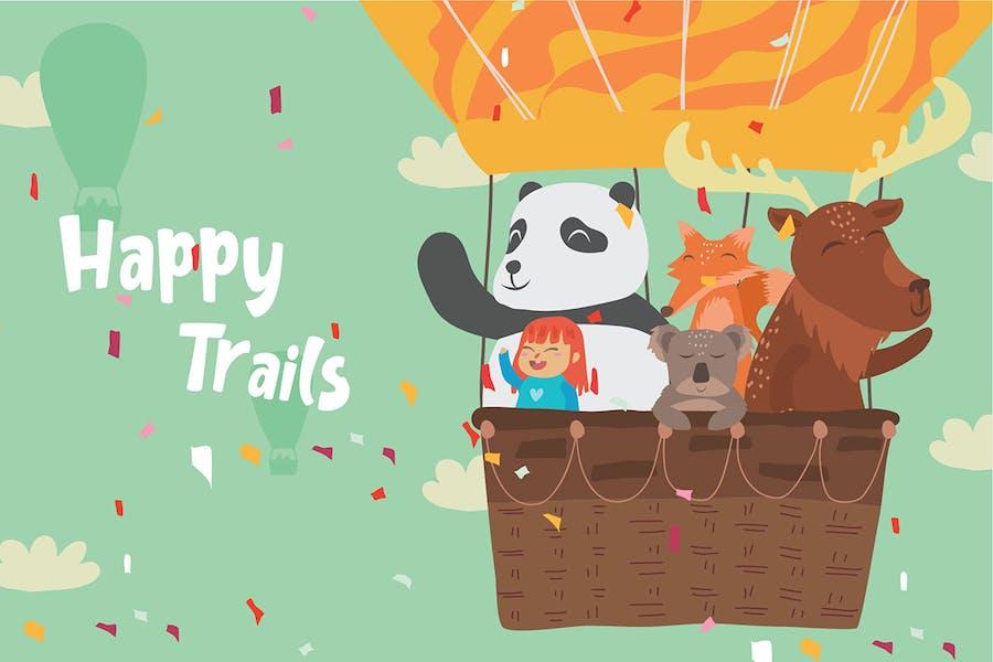 Happy Trails - Vector Illustration