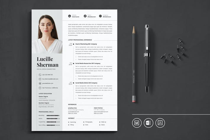 Thumbnail for Professional CV Resume Indesign Template Vol.21