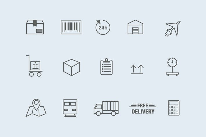 Thumbnail for 15 Logistics and Delivery Icons