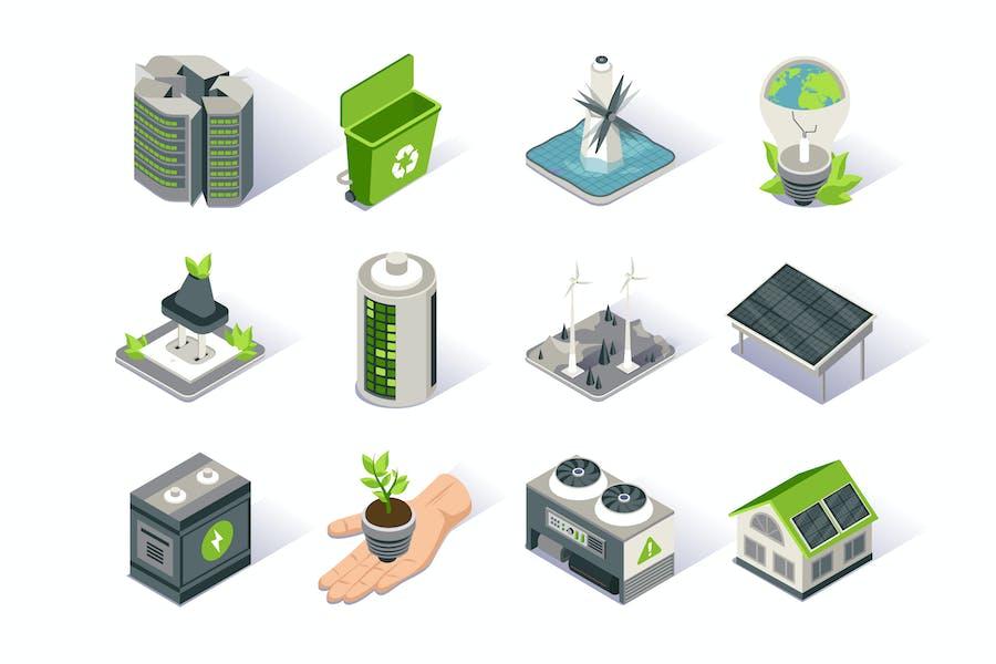 Clean Energy Isometric Icon Set
